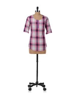 Pink & Purple Check Top - Kaxiaa