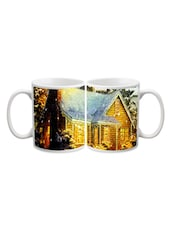 Yellow Hut In Snow Printed Mug - Start Ur Day
