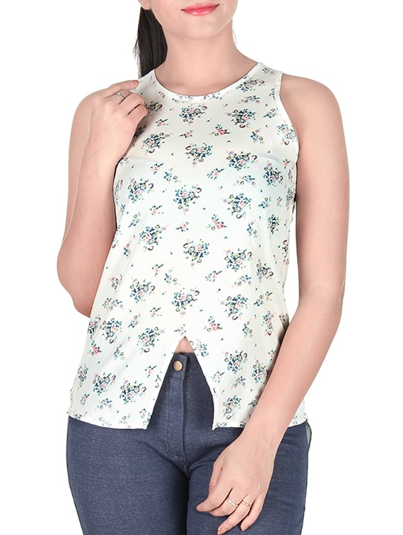 sanchey white printed top