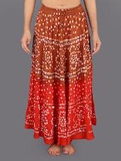 Cotton Embellished Bandhej Long Skirt - Rajasthani Sarees