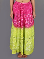 Bandhani Printed Cotton Embellished Long Skirt - Rajasthani Sarees