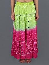 Green & Pink Bandhani Printed Cotton Long Skirt - Rajasthani Sarees