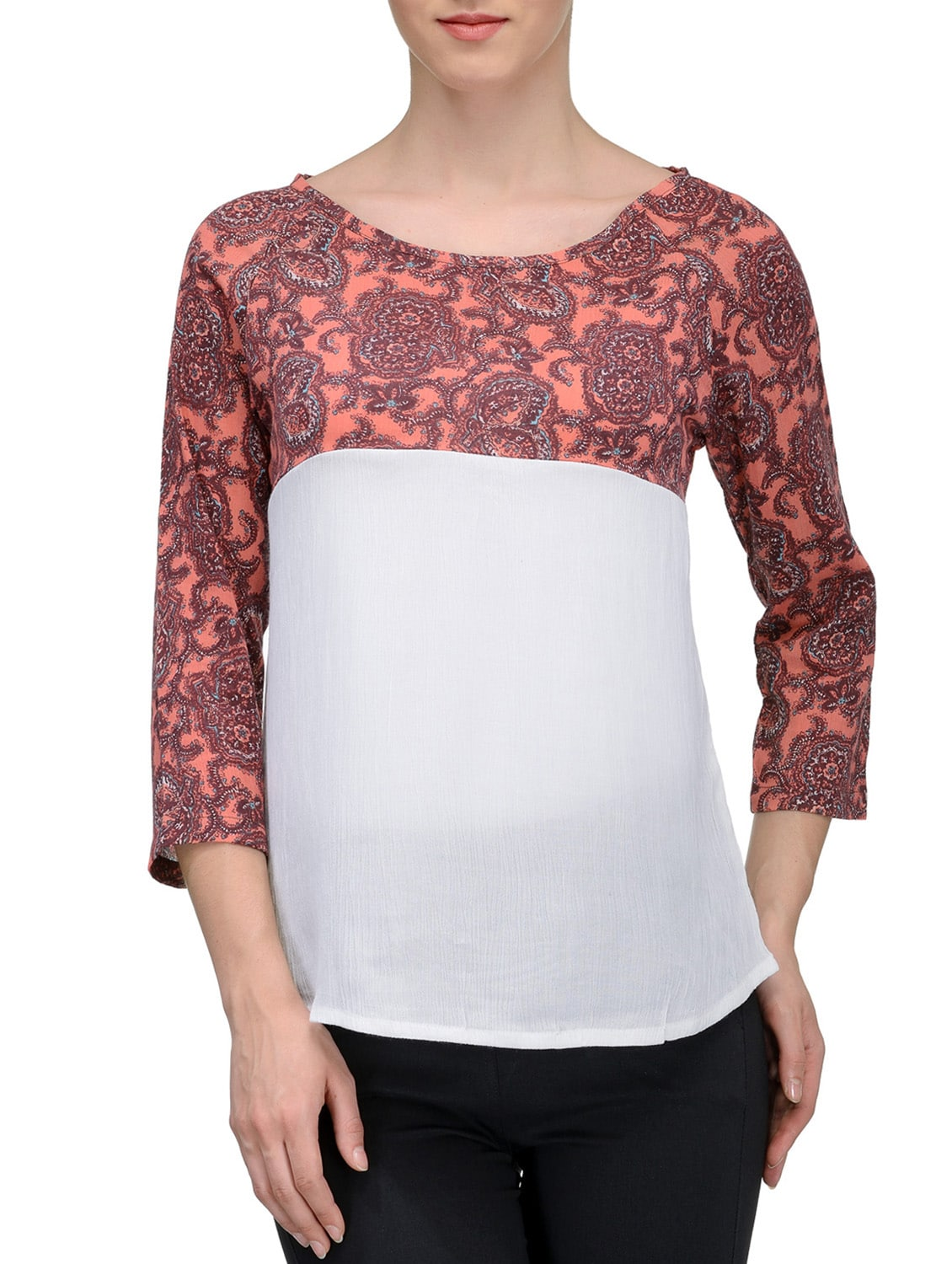 white printed casual top