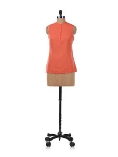 Coral Top With Buttons - Kaxiaa