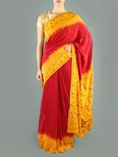 Red And Yellow Crepe Silk Saree - Siya