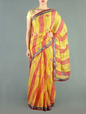 Yellow And Orange Chiffon Saree - Siya