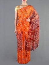 Orange And Maroon Pure Georgette Saree - Siya