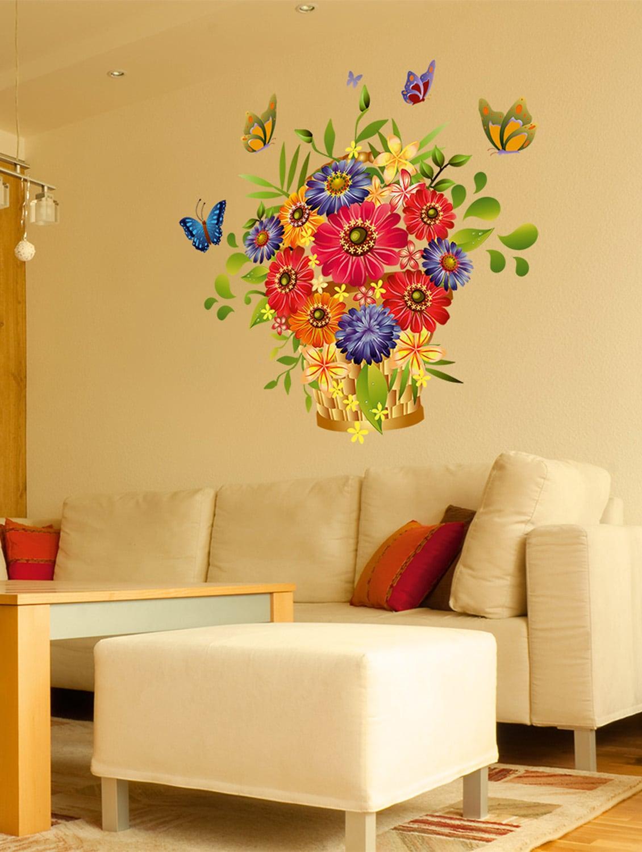 Wall stickers flowers beautiful bouquet arrangement design for hall entrance decoration colourful vinyl