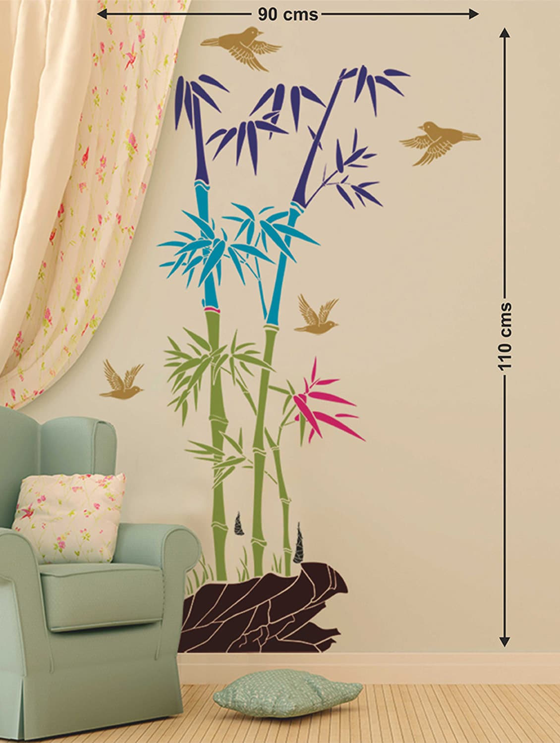 Buy wall stickers bamboo trees colorful with rocks and birds jungle scenery for staircase wall living room for unisex from stikerskart for ₹197 at 40 off