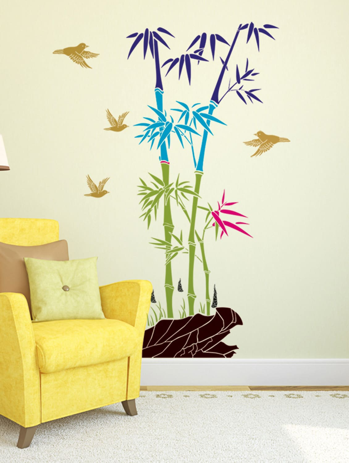 Buy Wall Stickers Bamboo Trees Colorful With Rocks And Birds Jungle ...