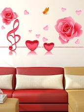Wall Stickers Music Notes Roses And Hearts In Pink Romantic Decal For  Bedroom Living Room Design Part 14