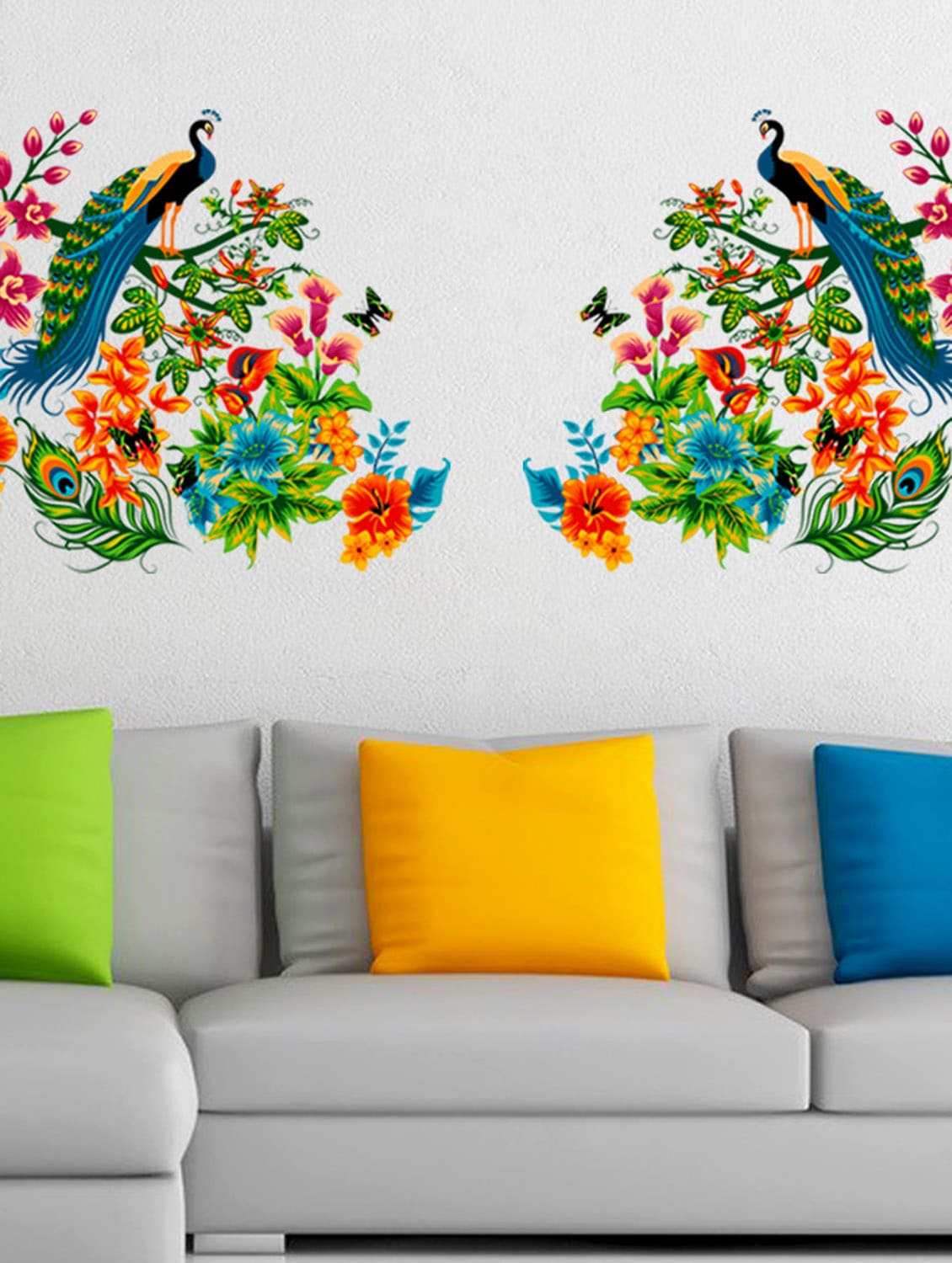 Buy Wall Stickers Peacock Birds On Colourful Branch Leaves Wall