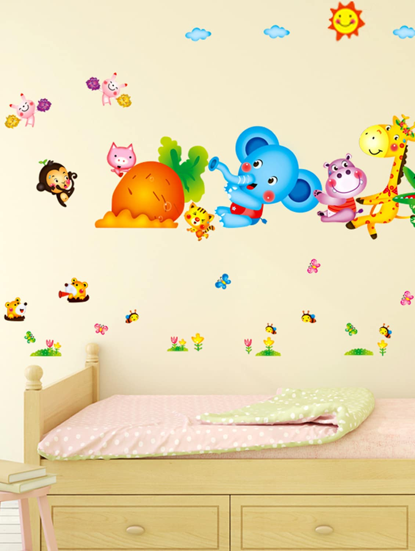 Buy Wall Stickers Kids Room Happy Cute Elephant Monkey Cartoon