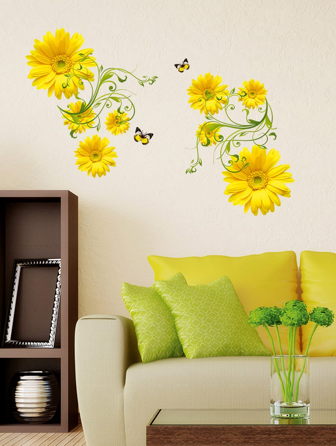 Buy wall stickers flowers yellow daisy with green vine wall art design living room office decor for unisex from stikerskart for ₹199 at 50 off 2019