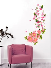 Wall Stickers Flower Wall Decals In Pink Blossoms Sofa Background Art Living Room Home Vinyl - By