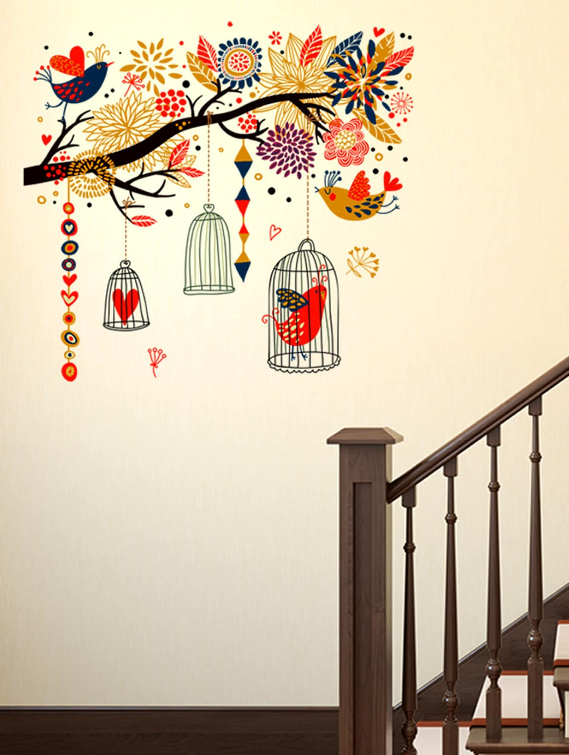 Buy Wall Stickers Branch With Colourful Decorative Elements Living