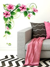 Wall Stickers Floral Vine Morning Glowers TV Background LCE LED Border Design - By