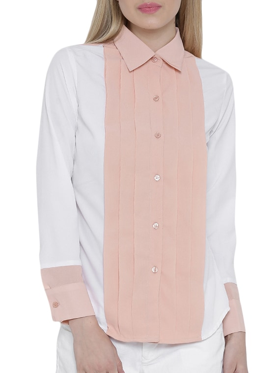 ddf03e206d9d Buy Solid White Crepe Shirt for Women from Popnetic for ₹495 at 55% off |  2019 Limeroad.com