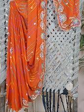 Embroidered Border Lehariya Georgette Saree - Aari Taari