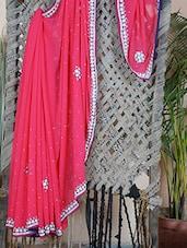 Embroidered Border Georgette Saree - Aari Taari