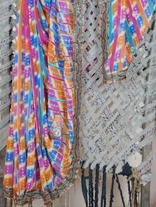 Multicolor Bandhej Georgette Saree - Lazza
