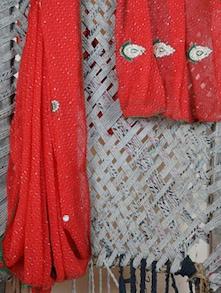 Red Embroidered Lehariya Georgette Saree - Lazza
