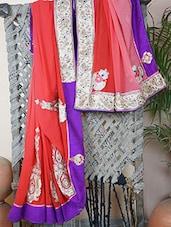 Georgette Embroidered Bordered Saree - Bandhni