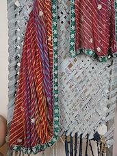 Embroidered Bordered Leheriya Georgette Saree - Libaaz