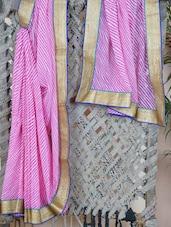 Georgette Golden Gota Bordered Saree - Libaaz