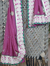 Paisley Zari Embroidery Bordered Georgette Saree - Libaaz