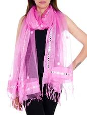 Pink Tissue Plain  Dupatta - By