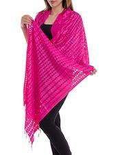 Pink Staple Cotton Plain  Dupatta - By