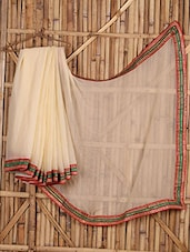 Sheer Embroidered  Bordered Saree - Saree Street
