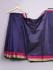 Plain Navy Blue Bordered Cotton Silk Saree - WEAVING ROOTS
