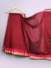 Plain Maroon Bordered Cotton Silk Saree - WEAVING ROOTS