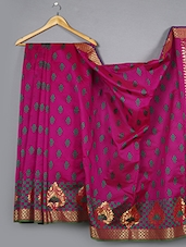Magenta Zari Pallu Art Silk Saree - WEAVING ROOTS