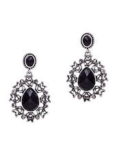 Drop Shaped Stone Embellished Metallic Earrings - Jewelz