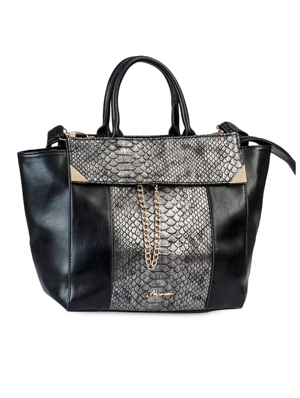 Crock Textured Black Hand Bag - Alonzo