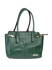 Green Textured Classy Handbag - Alonzo
