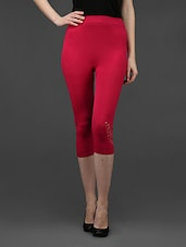 Pink Plain Solid Polyester Studded Leggings - Dashy Club