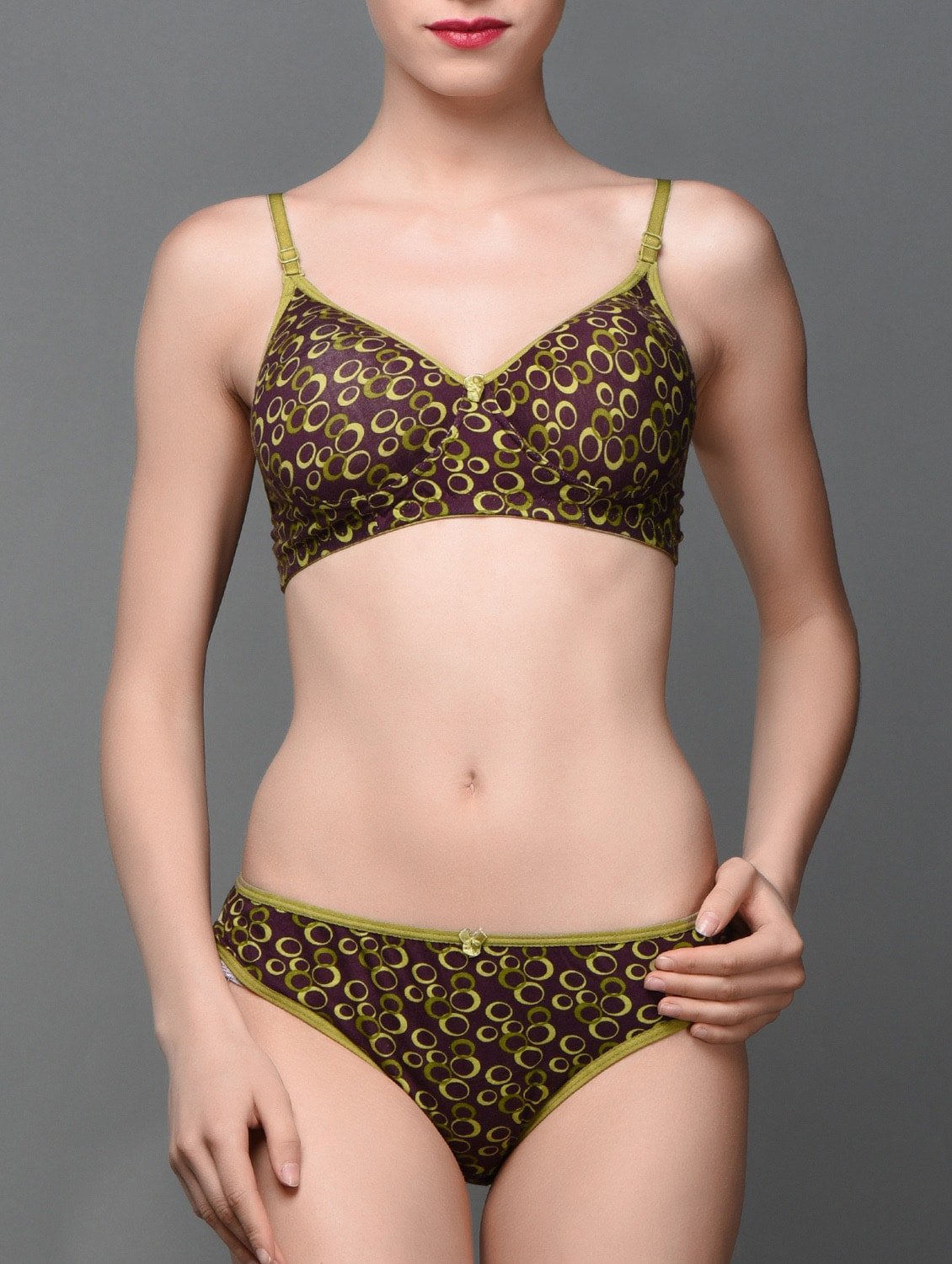 e5c9c11ade Buy Green Printed Cotton Push Up Bra Panty Set by Vermilion - Online  shopping for Bras And Panty Set in India