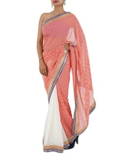 Gota Border Checks Printed Georgette Saree - Aari Taari