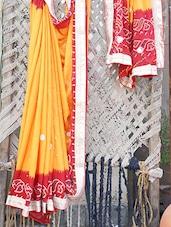 Gota Border Bandhej Chiffon Saree - Bandhni