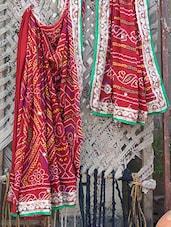 Velvet Embroidered Border Bandhej Chiffon Saree - Bandhni