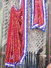 Velvet Embroidered Border Bandhej Chiffon Saree - Bandhni - 1041310