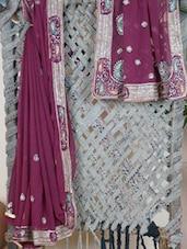 Leheriya Embroidered Georgette Saree - Lazza