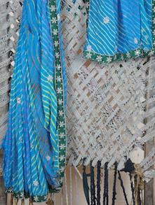 Blue Embroidered Border Leheriya Georgette Saree - Aari Taari