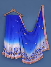 Embroidered Royal Blue And White Georgette Saree - Suchi Fashion