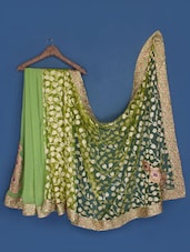Pistachio Green Chiffon And Net Brasso Saree - Suchi Fashion
