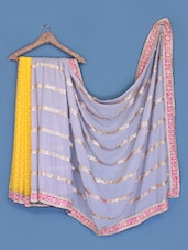 Yellow And Grey Chiffon Saree - Suchi Fashion